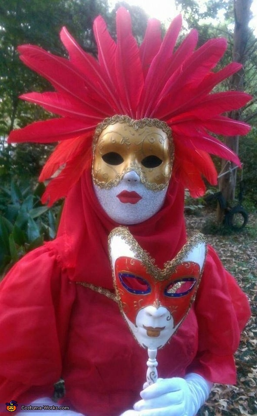 two hand painted masks, Venetian Carnival Couple Costume