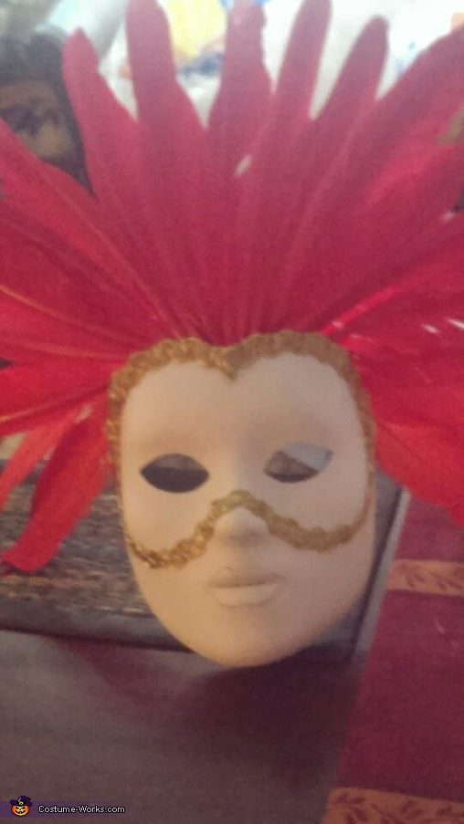 The red lady's face mask in progress. , Venetian Carnival Couple Costume