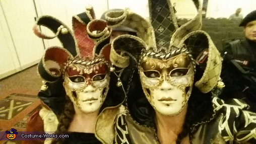 Close up of the masks, Venetian Jokers Costume