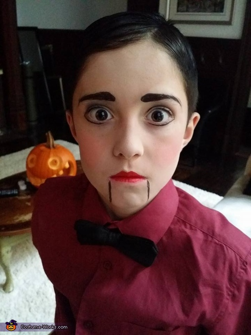 makeup created a painted look, Ventriloquist Dummy Costume