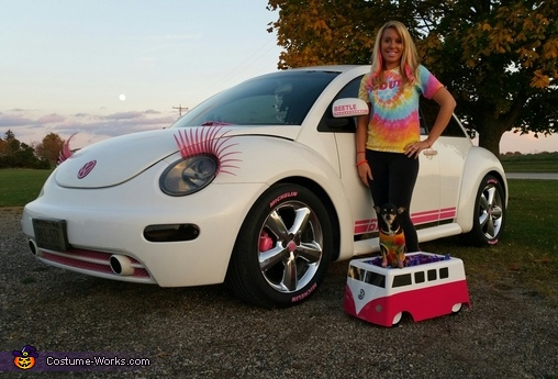 Our pink and white Vdubs!, VW Hippie Costume