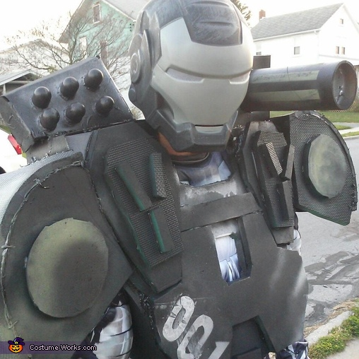 up close of the handmade costume, War Machine Costume