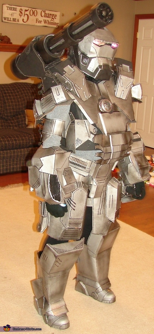 Angled view of completed costume, War Machine Ironman Costume