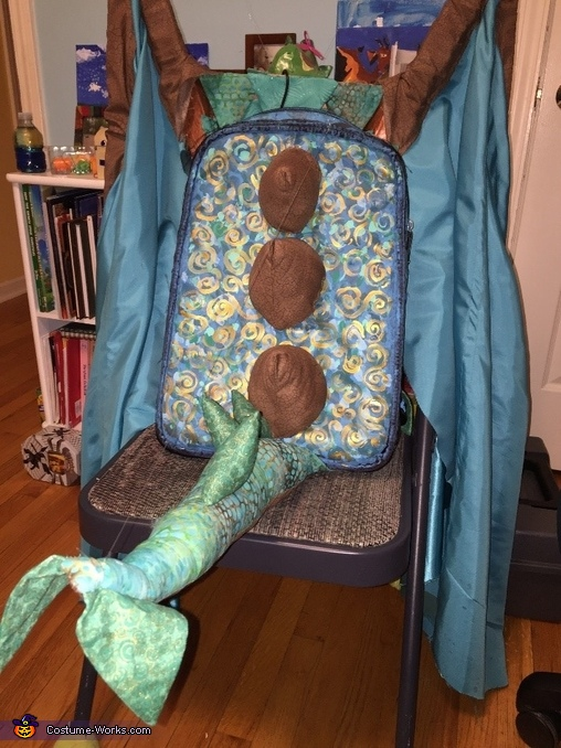 The tail was mounted to a backpack that was painted to match the rest of the Dragon., Water Dragon Costume
