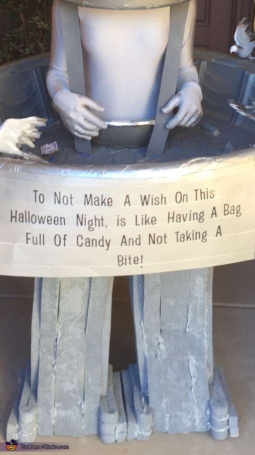 Fun sign on front of costume, Water Fountain Costume