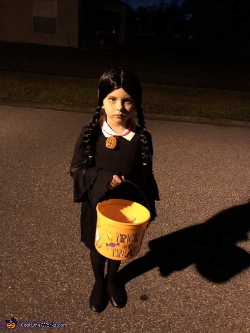 Out trick or treating, Wednesday Addams Costume