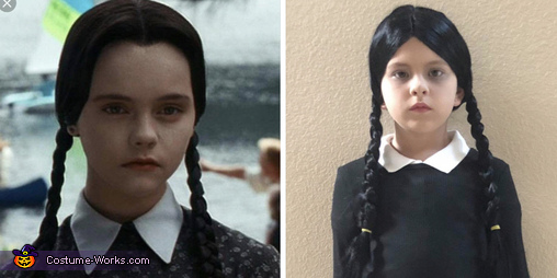Side by side with the real Wednesday., Wednesday Addams Costume