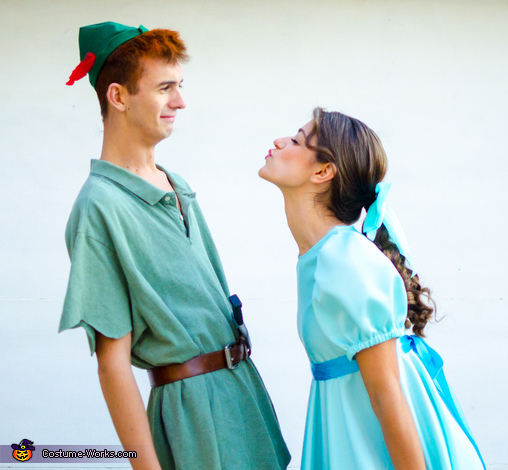 Reacting a scene from the movie, Wendy Darling and Peter Pan Costume