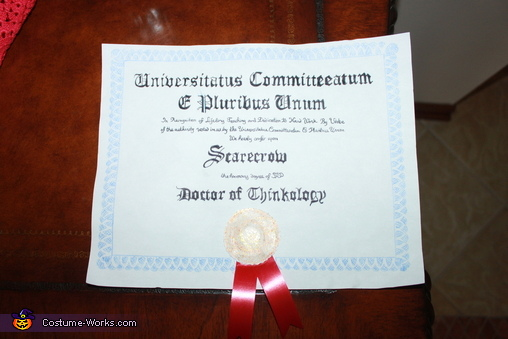 Diploma for the Scarecrow, We're off to see the Wizard Costume