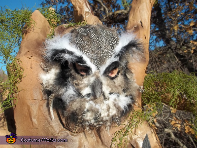 Owl Mask Made From Knit Hat, Plastic Masquerade Mask and Lots of Feathers, Haunted Tree Costume
