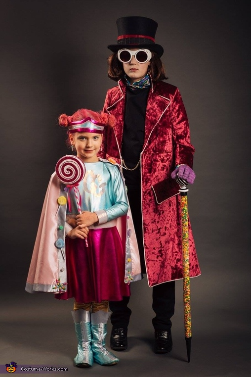 With his sister, Candy Girl, Willy Wonka Costume