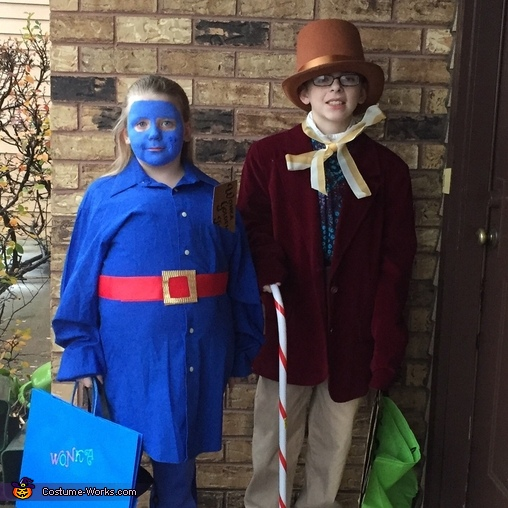 Willy Wonka and Violet from the Chocolate Factory Costume