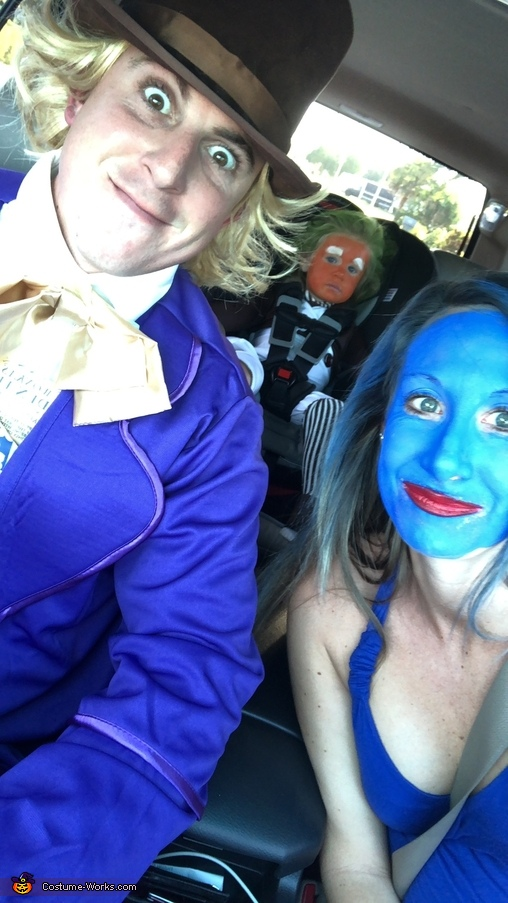 "On our way to the ""Chocolate Factory"" for some trick or treating!, Willy Wonka, Violet and their Oompa Loompa Costume"