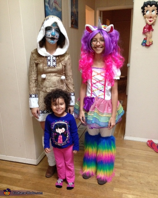 Myself with my sister(as a unicorn) and my cousin., Winter Sugar Skull Costume