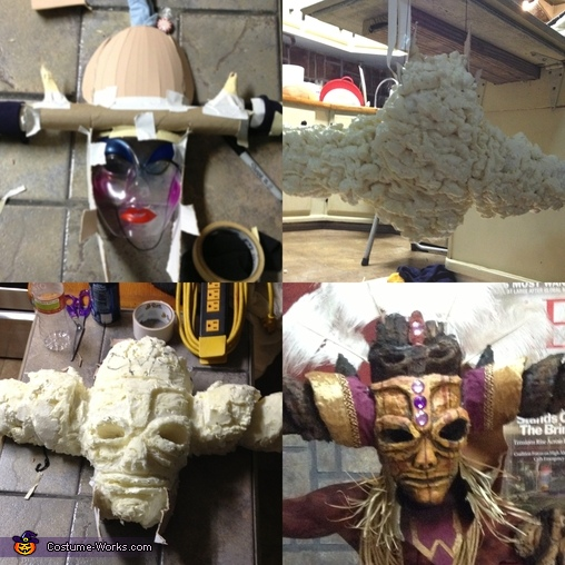 So As you can see I saved the hassle of having like 18 steps on this project by stitching the images together for your pleasure. The first image to the left is my backbone to the whole mask. I started my buying a cheap plastic mask. the ones everyone puts, Witch Doctor Costume