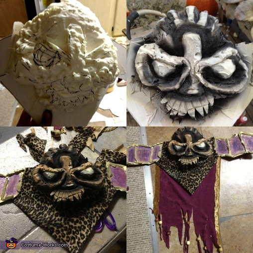 My belt was kind of tricky  i started with a cardboard backbone, cut it to shape sprayed the same foam on the face then started carving a skull in the center. once i was done i took the extra shavings of the foam and made squares for the part that goes ac, Witch Doctor Costume