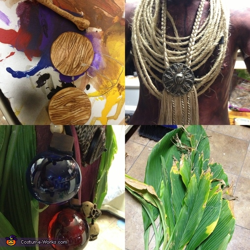 I had to go a little over the top this small details to make the outfit come together. Fist my ear Plugs and the bone piercing these items were made of modeling clay oven baked then painted with acrylic.  The Neck piece was make ot of some rope i had lyin, Witch Doctor Costume