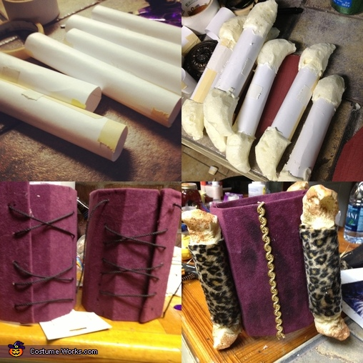First i started with card stock paper rolled in cylinders. sprayed the foam in the centers them carved the foam into a bone like shape. With some cardboard i fitted it to my leg them cut it to fit then laced it with some nylon string. once i was done i co, Witch Doctor Costume