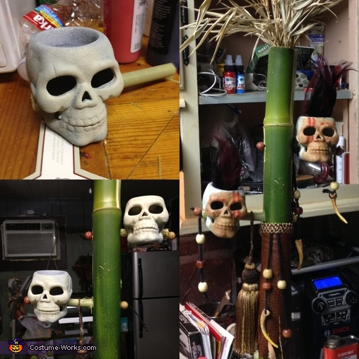 I made that word up ^... Ok the staff started with a really nice piece of bamboo. keep in mind bamboo is some tough stuff. The skull you see here were like 67 cents at the store i made to buy them to good of a find. i painted them first  stuck bamboo thro, Witch Doctor Costume