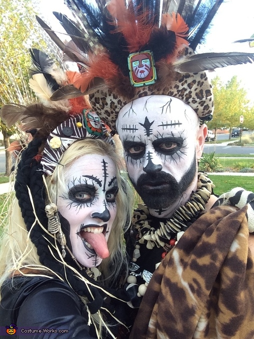 I painted both our faces (fast and easy) , Witch Doctors Costume