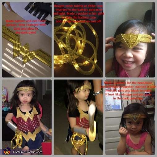 The W logo, light up lasso and headpiece, Wonder Woman Costume
