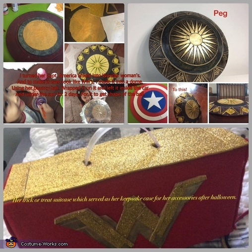 Her shield and suitcase, Wonder Woman Costume