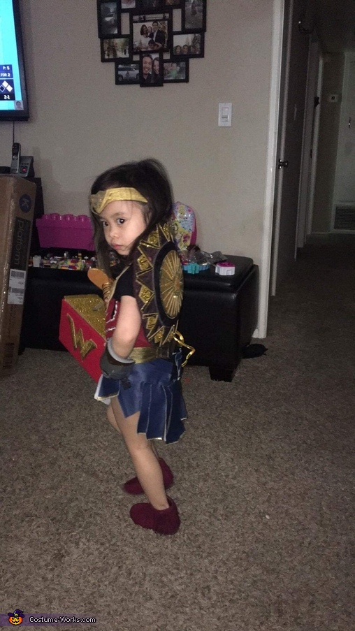 In her character look showing her shield, Wonder Woman Costume