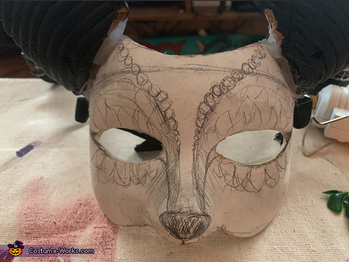 Mask cut down and horns attached with hot glue gun, Woodland Fawn Creature Costume