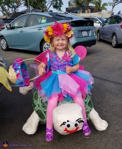 The adorable Fairy riding the Tortoise., Woodland Nature Spotting Costume