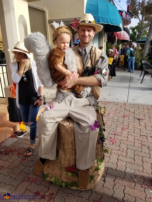 The nature watcher carrying Mr Squirrel., Woodland Nature Spotting Costume