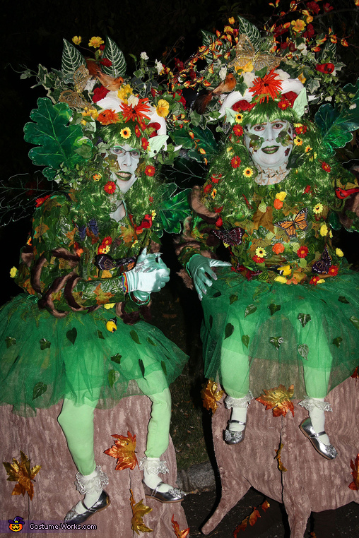 Woodland Nymphs Sitting on Tree Stumps Costume