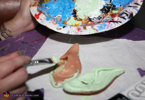 Painting the Ears, Woodland Nymphs Sitting on Tree Stumps Costume
