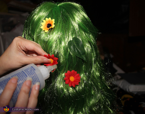 Decorating the Wigs with Flowers, Woodland Nymphs Sitting on Tree Stumps Costume