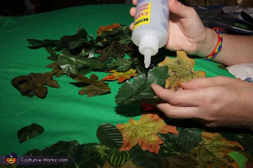 Making the Leaf Shirts, Woodland Nymphs Sitting on Tree Stumps Costume