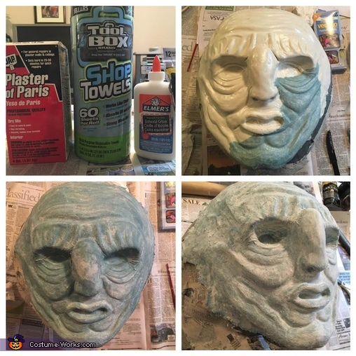 Applying the Paper Mache, Wun Wun the Giant from Game of Thrones Costume