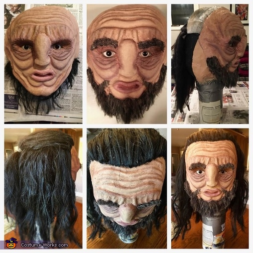 Applying the Beard/Head Hair, Wun Wun the Giant from Game of Thrones Costume
