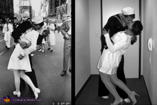 Our costume and original picture, WWII Kiss Costume