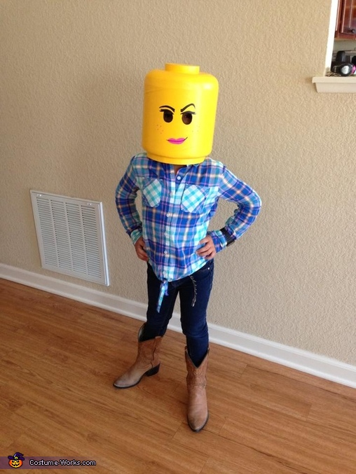Trying on her head after school, Wyldstyle from The Lego Movie Costume
