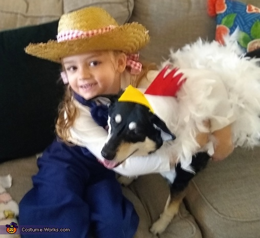 Young MacDonald and her Chicken Homemade Costume