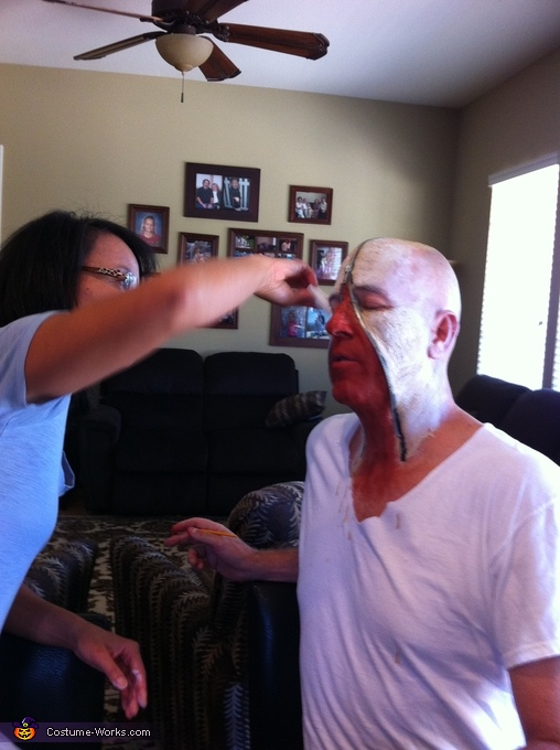 Final Step: Applying the make-up, Zipper Face Costume