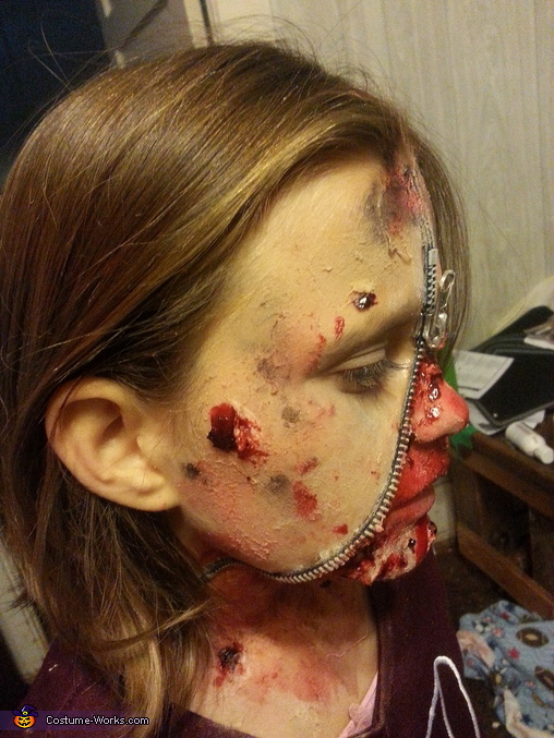 Zipper Face Cheerleader Homemade Costume