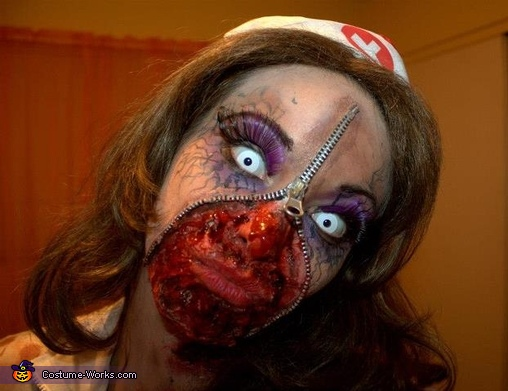 & Zipper Zombie Nurse Costume