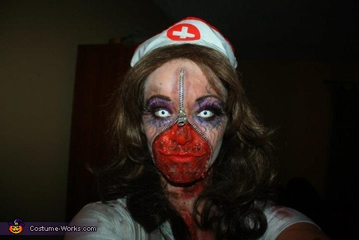 Halloween 2012 Zipper Zombie Nurse, Zipper Zombie Nurse Costume