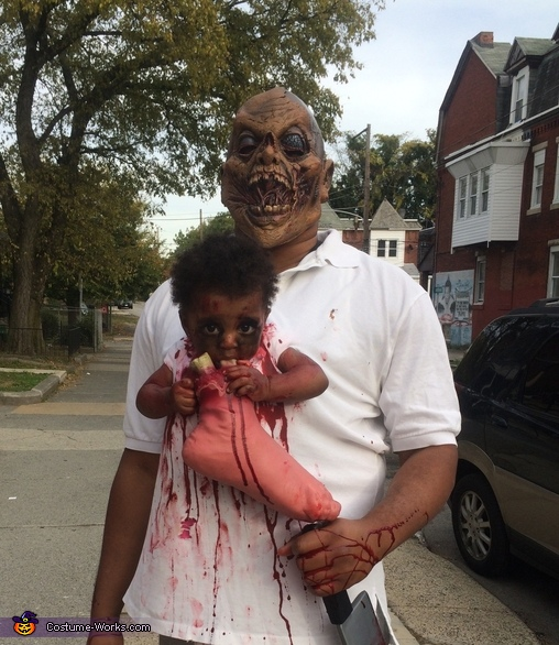 Zombie Baby and Monster Dad Homemade Costume