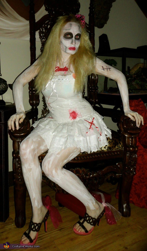 Zombie Barbie at her dead throne. Zombie Barbie - Homemade costumes for women