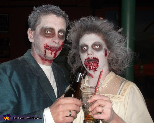 my sister and her fiance up close, Zombie Bridal Party Costume