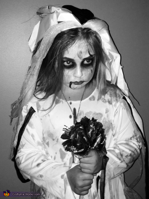 Black and white frontal view, Zombie Bride Costume