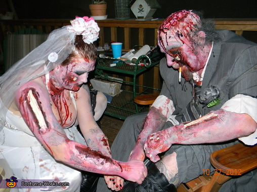 getting his boots on, Zombie Bride and Groom Costume