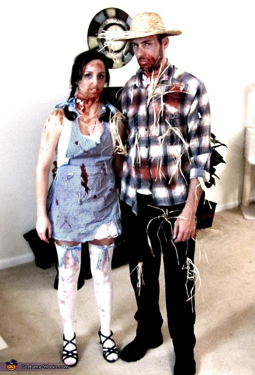 Zombie Dorothy and Scarecrow Couple Costume