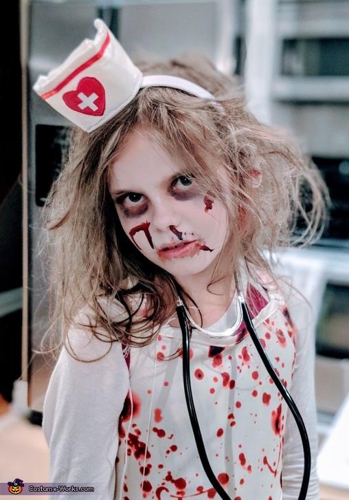 Daughter Hannah as a Zombie Nurse, Zombie Nurse Apocalypse Costume